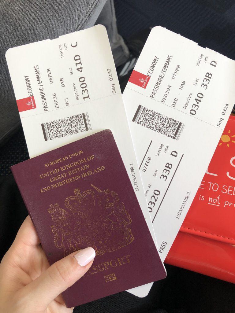 Flight tickets and passport