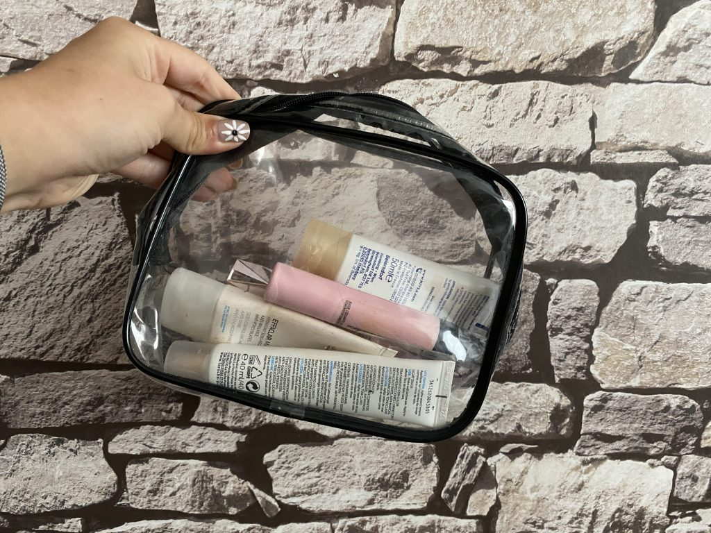 Clear Reusable Bag for travelling with hand luggage. Liquids