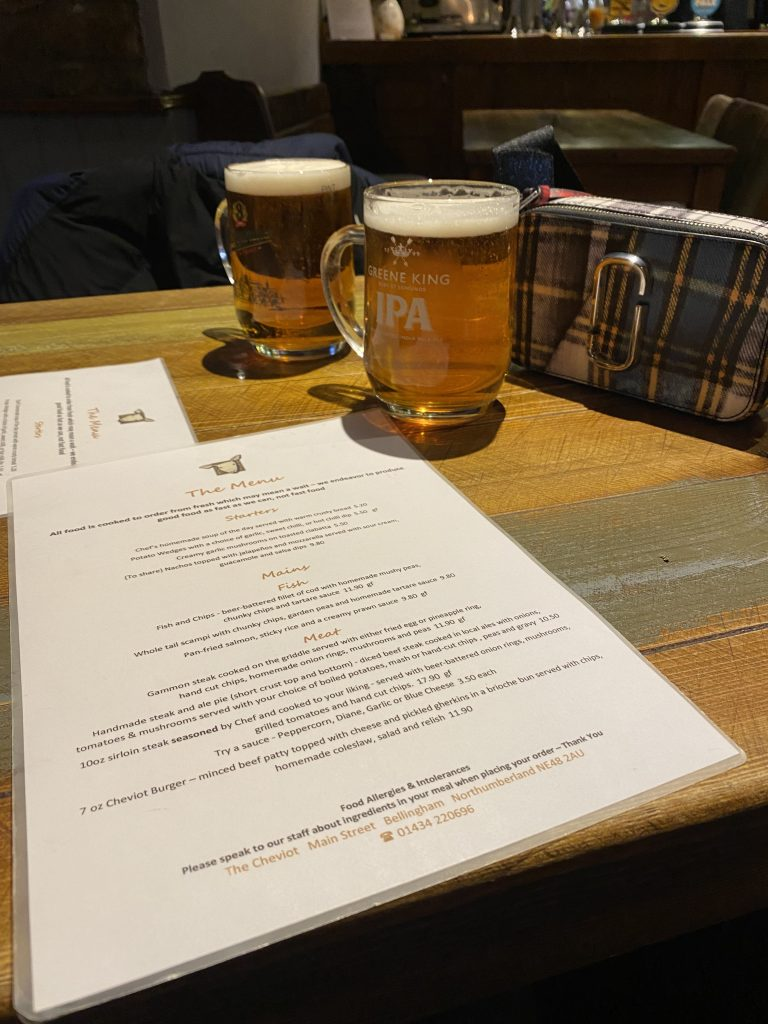 Pints and menu in Cheviot Hotel Bellingham